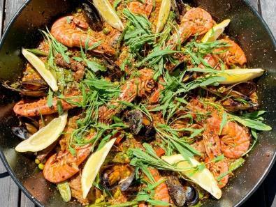 Paella revisitée boulgour et quinoa